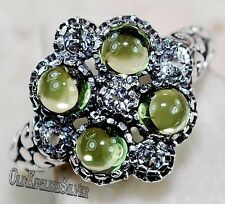 2CT Peridot & White Topaz 925 Solid Sterling Silver Filigree Ring Sz 8