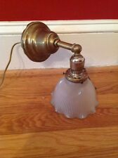 Antique Early Electric Brass Sconce Hubbell Pull chain & signed Holophane Shade