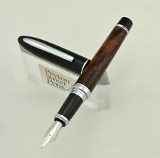 Duke 911 Shark Fountain Pen - Black Cap, Brown Marble Barrel, Fine (New in Box)