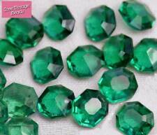 VALUE 10x Czech Glass Octagon Stones Faceted Chaton Emerald 12mm Quality Vintage