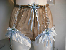 FRENCH VTG STYLE BROWN  & BLUE NYLON NET  SISSY KNICKER/PANTIES SIZE M