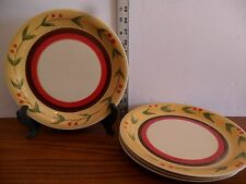 "(6) Used Royal Norfolk  Stoneware 10 1/2"" Dinner Plates Cherry Pattern, RNF81"