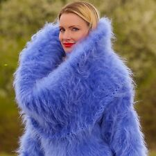 SUPERTANYA BLUE Hand Knitted Sweater Fuzzy Huge Cowlneck Sexy Long Mohair Dress