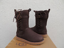 UGG AMELIA BROWN LEATHER/ SHEEPSKIN CORSET BUCKLE BOOTS, US 7/ EUR 38 ~NEW