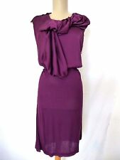 Lanvin Dress Viscose Jersey Knit Deep Plum Blouson Sheath Sleeveless  L