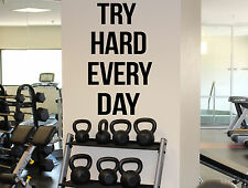 Gym Motivational Quotes Wall Decal Try Hard Every Day Vinyl Sticker Fitness 5