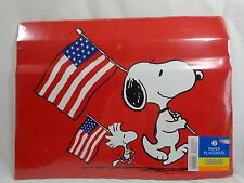 "SNOOPY AND WOODSTOCK Paper Placemats 8 Pack 13"" x 17"" Red USA Flags Peanuts 2015"