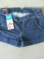 Womens evisu flower seagull emb button shorts size 29