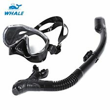 Underwater Scuba Snorkelling Liquid Silicone Diving Mask & Dry Snorkel Set BLACK