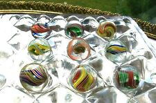 ANTIQUE GLASS MARBLES SWIRL RIBBON CORE + RARE GLASS MARBLE DISPLAY STAND HOLDER
