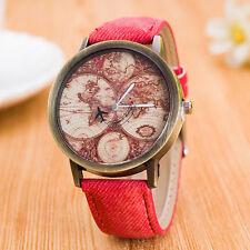 Women Retro World Map Printed Cowboy Watches Analog Quartz Wrist Watch Watches H