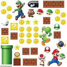SUPER MARIO Bricks Coins 45 BiG Wall Luigi Nintendo Decals Room Decor Stickers E