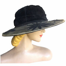 vintage Edwardian Antique Black Velvet Wide Brim Hat w/ Soutache as is 23