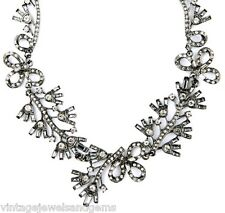 FLORAL CLEAR WHITE CRYSTAL RHINESTONE Gray Silver Choker Collar Pendant Necklace