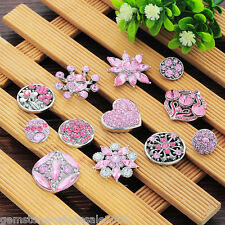 W09 New Silver Tone Set Blend Shape Pink Circular Crystal Buttons