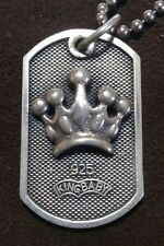 King Baby Studio Crown Dog Tag pendant with Sterling Silver 925 Chain