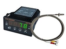 12V DC 1/32DIN Digital PID Temperature Controller, Green with K thermocouple