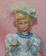 Dollhouse Miniature Doll Mother Victorian Porcelain Blue Dress & Hat 1:12