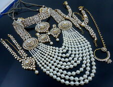 TRADITIONAL WHITE KUNDAN PEARL CZ GOLD TONE NECKLACE BRIDAL JEWELRY SET 8 PCS