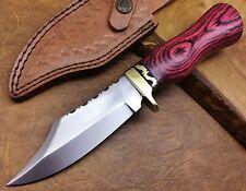 TITANs Couteau de chasse Damas Lame fixe D2 Knife Outdoor Bowie Gift 2303H