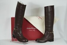 Salvatore Ferragamo Nando Gancini Chain Hidden Wedge Tall Boots US 10M NIB