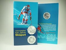 *** 5 EURO Gedenkmünze ÖSTERREICH 2005 100 Jahre Skisport im Folder Silber ***
