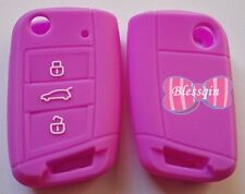 PURPLE SILICONE FLIP CAR KEY COVER for VW VOLKSWAGEN MK7 GOLF 2013 2014