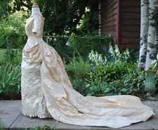 1880 SATIN FLORAL BROCADE BUSTLE 1-PIECE GOWN TRAINED MUSEUM DE-ACCESSIONED