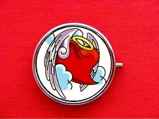 ANGEL HEART TATTOO WINGS ROUND METAL PILL MINT BOX CASE
