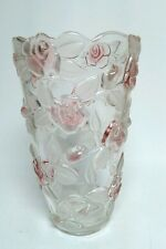 "Mikasa Bella Rosa Vase Pink Crystal Frosted Glass Floral Roses 9.5"" Germany  NEW"