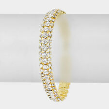 "7.50"" gold clear crystal bracelet cuff bangle bridal prom formal evening"