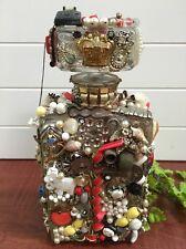 "Vintage Folk Tramp MEMORY Vase Decanter Jar Mosaic 10 1/2"" x 5"" w-Toys, Dice etc"