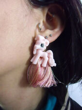 Boucles d'oreilles originales petit poney rose cartoon cute kawaii plastique