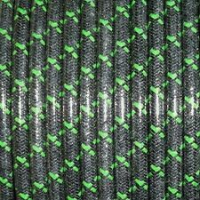 MAGNETO SPARK PLUG WIRE 7MM  COPPER CORE, WOVEN BLACK W/GREEN TRACERS