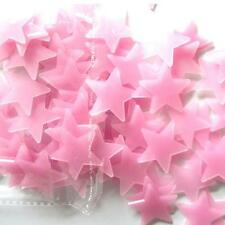 100PC New Kids Bedroom Fluorescent Glow In The Dark Stars Wall Stickers Pink