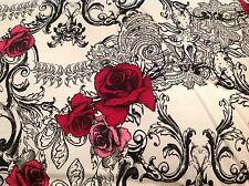 Betsey Johnson Twin Comforter Set NWT Rock Out Black Red 2 Pc Sham Roses Scrolls