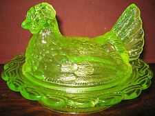 Vaseline glass hen chicken on nest basket dish rooster candy butter uranium art
