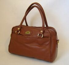Etienne Aigner Purse Leather Satchel Handbag Rust Brown Tote Bag Zipper Lined