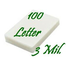 100 Pack Letter Size  Laminating Pouches Sheets  9 x 11-1/2  3 Mil FREE CARRIER