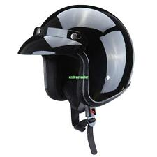 Vintage Retro Large Gloss Black Dot Adult Motorcycle Safety 3/4 Open Face Helmet