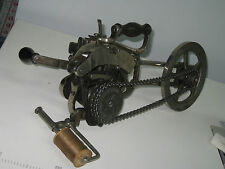 ANTIQUE CAST IRON HAND CRANK LOCK STITCH CARPET SEWING MACHINE. MADE IN USA