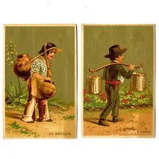 Antique French Gilded Chromolithographs, Water Carriers in Mexico & Paris, 2 pcs