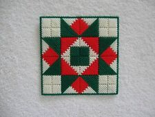 Red White Green Quilt Block Christmas Doily Plastic Canvas Handmade