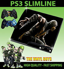 PLAYSTATION PS3 SLIM STICKER MORTAL KOMBAT X SCORPION SKIN & 2 PAD SKINS