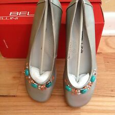 Bellini Orianna Silver Wedge Ballet Style Shoes Beaded Flats Sz 9W NIB