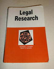 Legal Research in a Nutshell Kent C. Olson Morris L. Cohen 7th Edition