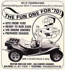 1970 MOTION MINI-CAR DUNE BUGGY / MINI-T  ~  ORIGINAL SMALLER PRINT AD