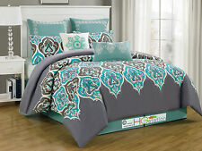 8P Damask French Lily fleur-de-lis Comforter Set Silver Gray Blue Turquoise King