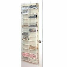26 Pair Over Door Hanging Shoe Organiser Storage Rack Holder Shelf Cream