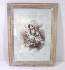 EMILE WATTIER Frolicking Putti Lithograph (Wood Framed)